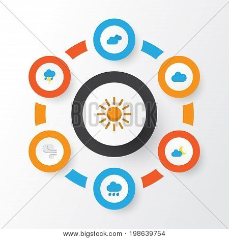 Weather Flat Icons Set. Collection Of Sun, Cloud, Crescent And Other Elements