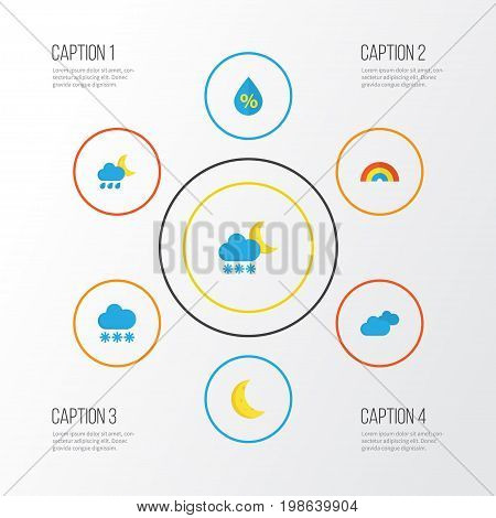 Climate Flat Icons Set. Collection Of Snow, Hailstones, Moon And Other Elements