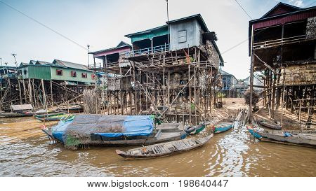 TONLE SAP LAKE CAMBODIA December 07 2015: - Fisherman village of Kompong Khleang at Tonle Sap Lake Cambodia. The lake is the largest in southeast Asia.