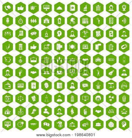 100 coherence icons set in green hexagon isolated vector illustration