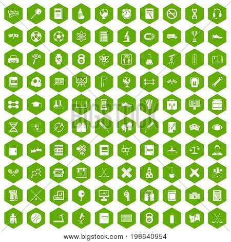 100 college icons set in green hexagon isolated vector illustration