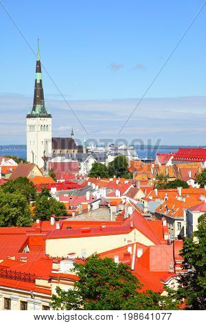 Vew of Old town of Tallin with St. Olaf's Church, Estonia