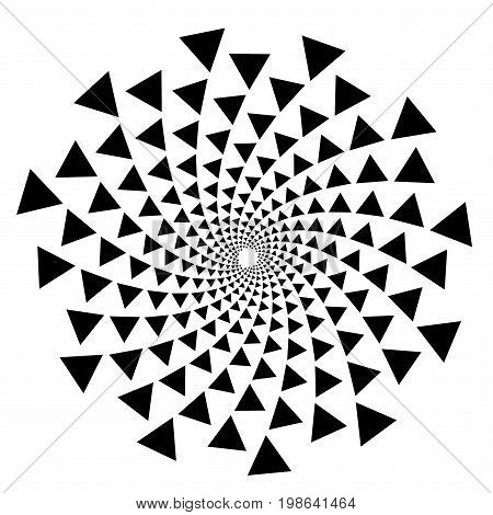 Background, Pattern, Black And White Spiral Pattern. Round Centered Halftone Illustration. Triangle,