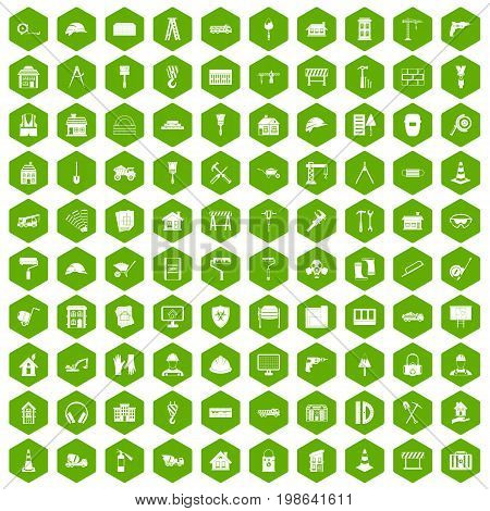 100 construction icons set in green hexagon isolated vector illustration