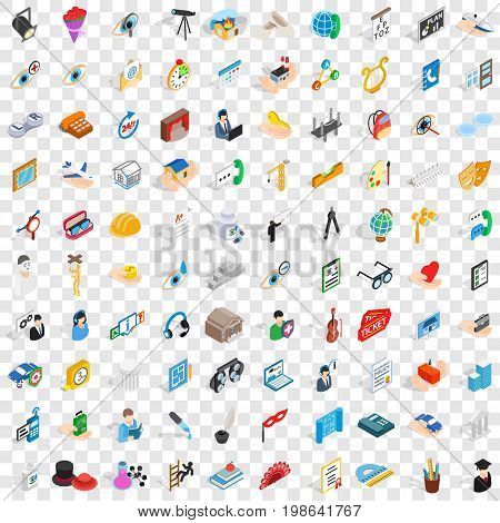 100 work icons set in isometric 3d style for any design vector illustration