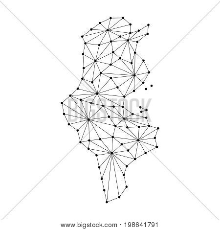 Tunisia map of polygonal mosaic lines network rays and dots vector illustration.