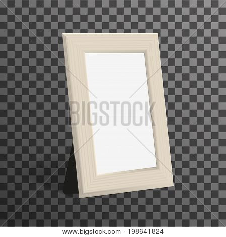 Realistic woden picture or photo frame mock up standing on transparent background. Vector design template.