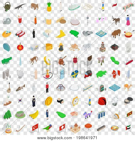 100 world tour icons set in isometric 3d style for any design vector illustration