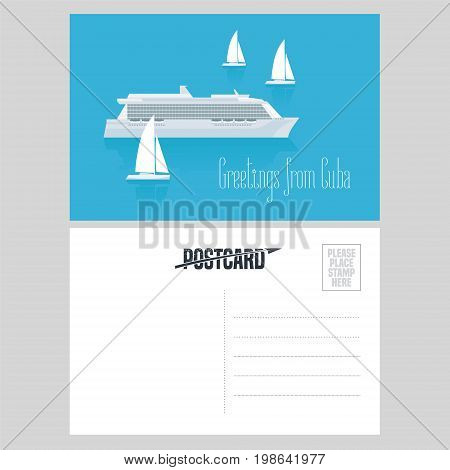 Postcard from Cuba and Caribbean with cruise liner vector illustration. Greeting card airmail with template text sent from Cuba with vessels