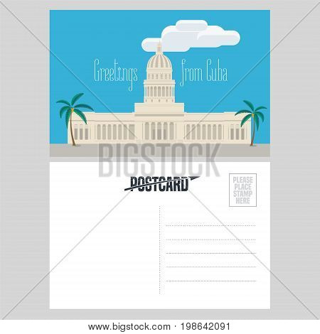 Postcard from Cuba with El Capitolio vector illustration. Greeting card airmail with template text sent from Cuba with main Cuban architecture landmark