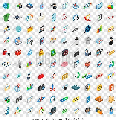 100 www icons set in isometric 3d style for any design vector illustration