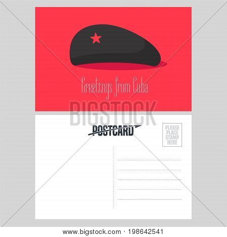 Postcard from Cuba with Che Guevara red star hat vector illustration. Greeting card with template text box sent from Cuba