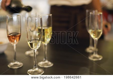 Champagne glasses. Wine tasting in the restaurant or winery