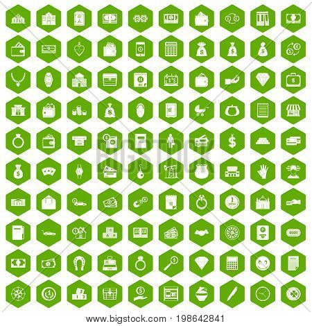 100 deposit icons set in green hexagon isolated vector illustration