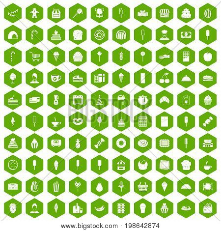 100 dessert icons set in green hexagon isolated vector illustration