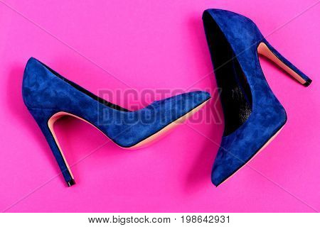 Pair Of Fancy Suede Female Shoes, Top View. Fashion, Shopping