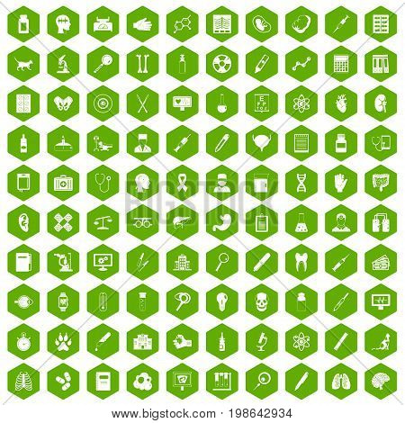 100 diagnostic icons set in green hexagon isolated vector illustration