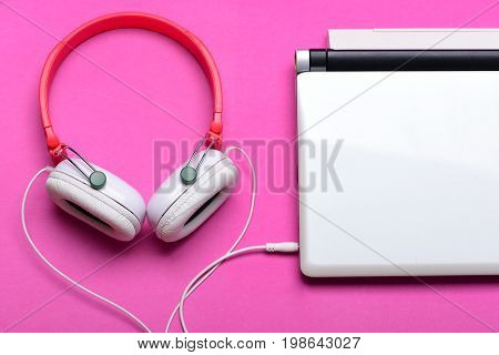 Electronics Isolated On Magenta Pink Background, Top View