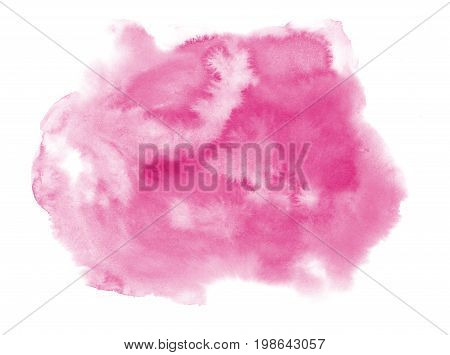 Watercolor blot isolated on white background. Pink watercolor blot for your design.