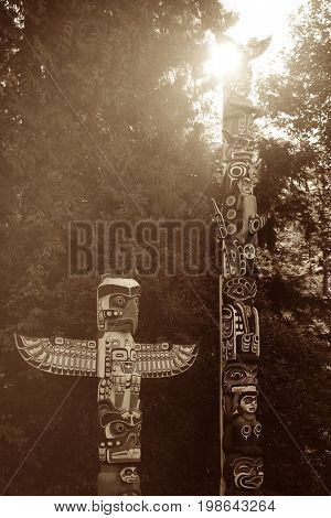 Indian totem poles in Stanly Park in Vancouver
