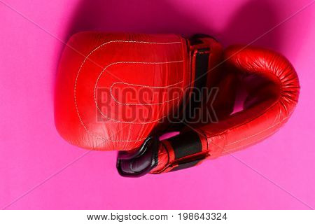 Concept Of Womens Fight And Boxing Sport With Red Gloves