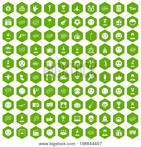 100 emotion icons set in green hexagon isolated vector illustration