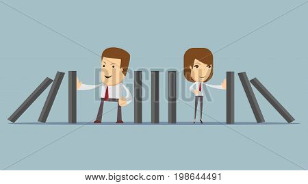 people stopping the domino effect with falling dominoes. Stock vector illustration for poster, greeting card, website, ad, business presentation, advertisement design.