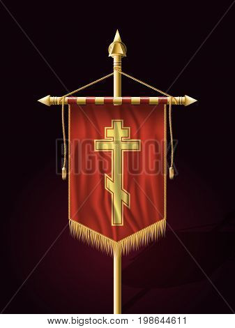 Festive Banner Vertical Flag With Religious Cross. Wall Hangings With Gold Tassel Fringing. Has Save