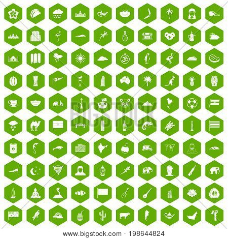 100 exotic animals icons set in green hexagon isolated vector illustration
