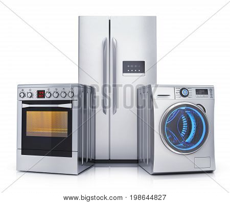 Consumer electronics stell.Fridgewasher and electric-cooker on white background. 3d illustration