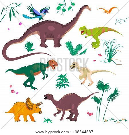 Palm trees and T-Rex. Raptor and Triceratops, Diplodocus. Pterodactyl, Megalosaur, Iguanodon etc