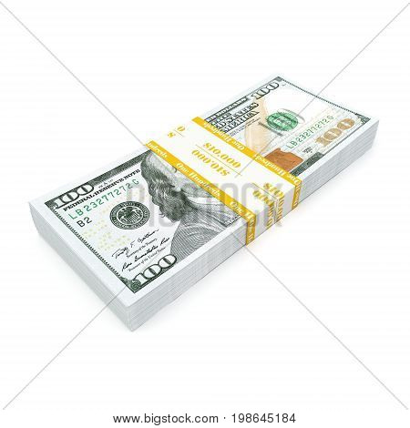 3d rendering a pack of US dollars in high quality