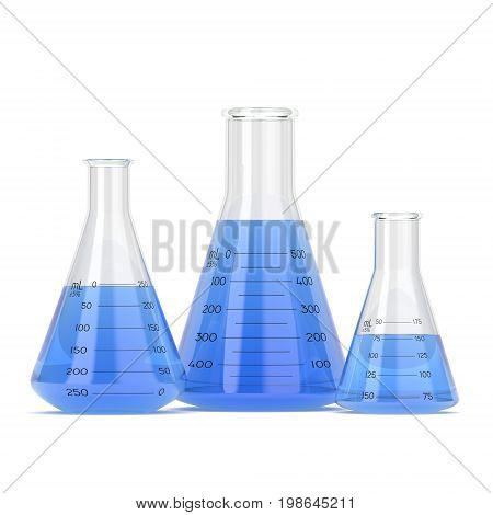 3D rendering a set of chemical utensils filled with pure blue liquid