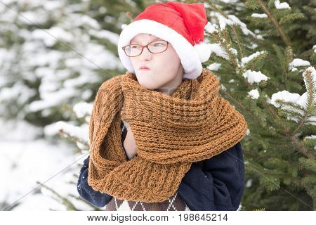 small christmas naughty boy or cute nerd sad kid in glasses sweater fashionable knitted scarf and red santa claus hat in winter outdoor at green fir tree with snow on natural background