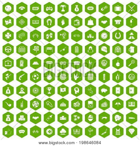 100 gambling icons set in green hexagon isolated vector illustration