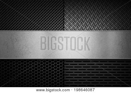Four types of abstract modern grey perforated metal textures with polished metal plate banner for background graphic design. Place for text