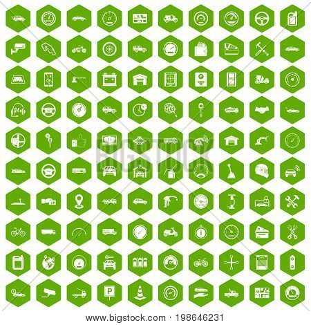 100 garage icons set in green hexagon isolated vector illustration