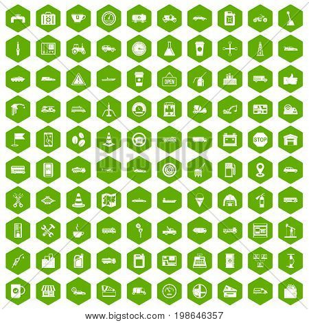 100 gas station icons set in green hexagon isolated vector illustration