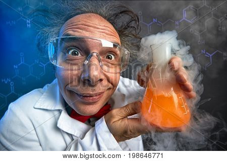 Crazy chemist with test tube, funny scientist