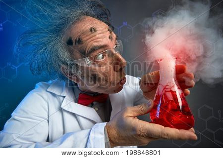 scientist looking in astonishment why the experiment exploded