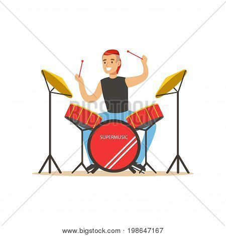 Young man playing on drums, guy behind the drum kit vector Illustration on a white background