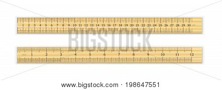 Realistic wooden ruler 30 cm and 12 inches with shadow isolated on white background. Measuring tool. School supplies. Vector illustration