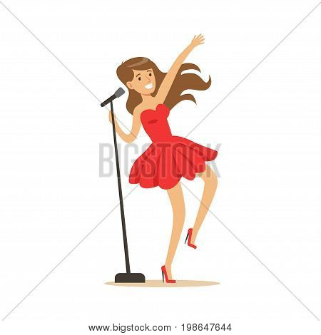 Young beautiful girl in red dress with microphone performing a song vector Illustration on a white background