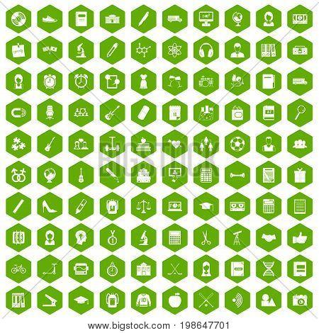 100 hi-school icons set in green hexagon isolated vector illustration