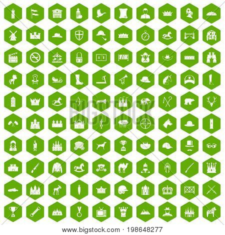 100 horsemanship icons set in green hexagon isolated vector illustration