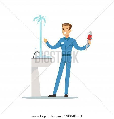Proffesional plumber man character repairing leaking pipe, plumbing work vector Illustration on a white background