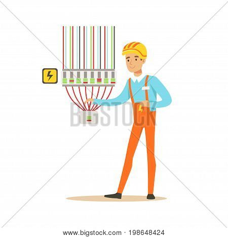 Professional electrician man character checking electrical equipment, electrical works vector Illustration isolated on a white background