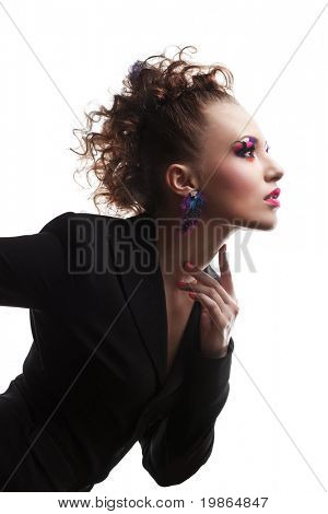 closeup portrait of attractive caucasian female with stylish hairstyle and makeup isolated on white