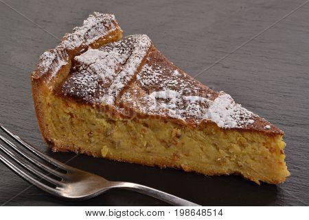 Pump cake slice and fork.