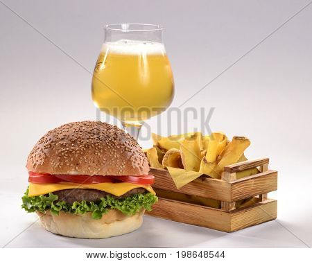 Burger,fried potatoes and beer glass drink menu.